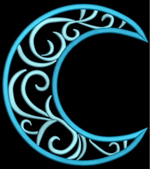 AGD 3084 Swirly Crescent Moon Applique