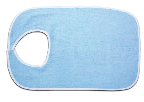 Essential® Blue Terry Cloth Bib with Hook and Loop Closure