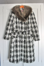 1960's Belted Winter Coat with Fur- Medium/Large