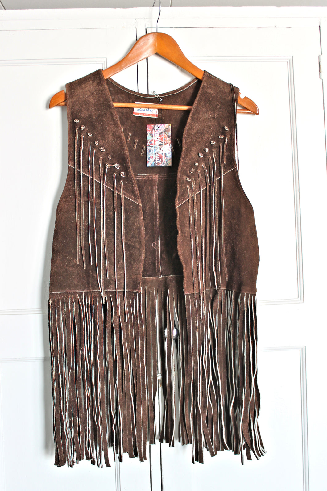 1970's Mexican Leather Fringe Vest