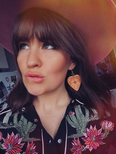 'Cowboy's Sweetheart' Carved Leather Earrings