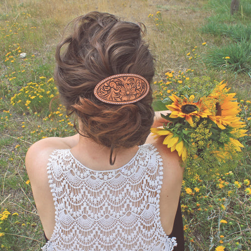 Carved Leather Barrettes
