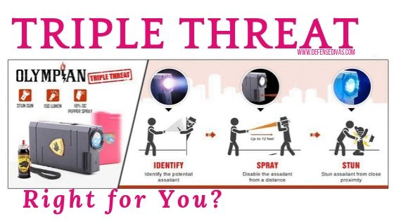 link to  olympian stun gun pepper spray flashlight triple threat self defense