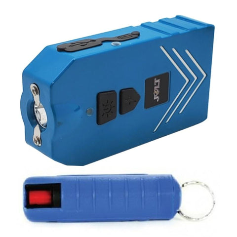 Guarded Gretchen blue stun gun pepper spray combo self defense kit