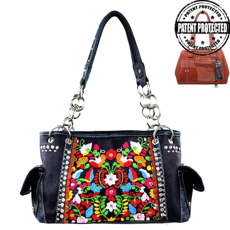 Montana West Handgun Purses Montana West® Bright Embroidered & Bling Concealed Carry Shoulder Strap Purse NAVY