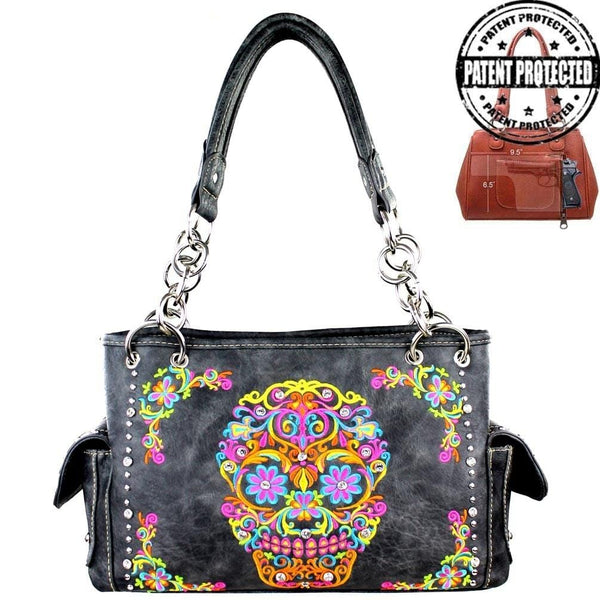26258dce1b37 Montana West® Gray Bling Sugar Skull Concealed Carry Purse
