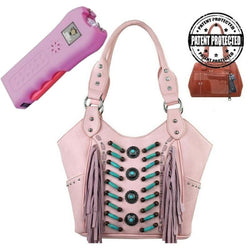 MW32G-8096-1005-PK montana west pink concealed carry fringe gun compartment purse pink stun gun package deal