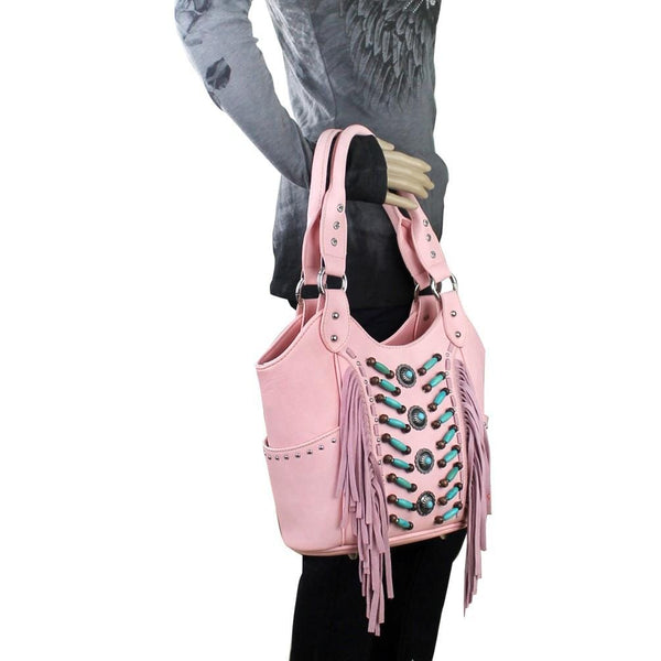 MW32G-8096-1005-PK montana west pink concealed carry fringe purse