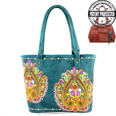 2c6b6f0b086 MW363G-8317 Montana West Embroidered Collection Concealed Carry Handbag Gun  Purse Turquoise