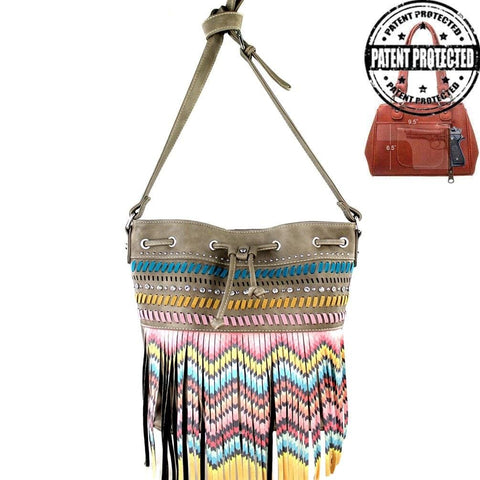 MW367G-8111-1005-KAKI Fringe Collection Concealed Carry Purse Cross Body Firearm Shoulder Bag
