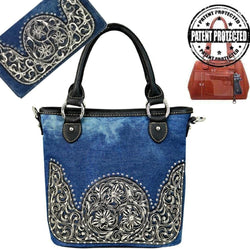 MW581-8461-BK montana west denim concealed carry firearm purse matching wallet gun handbag set