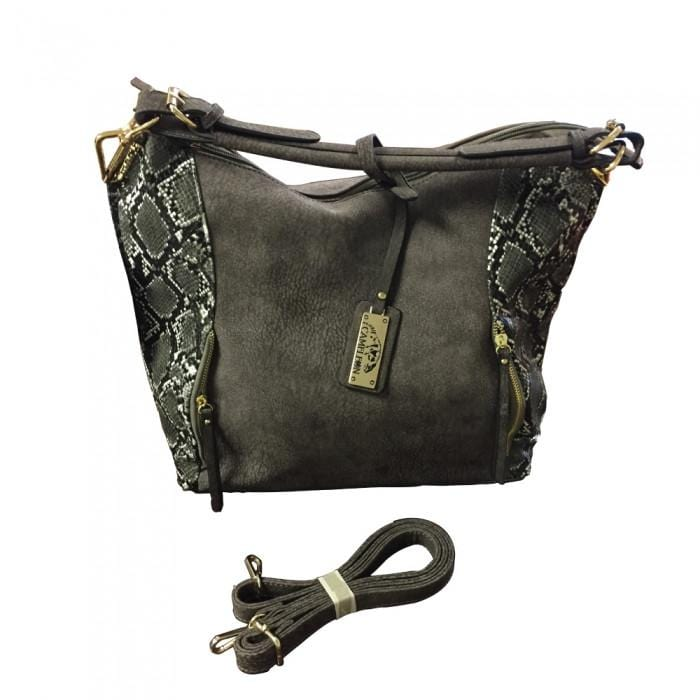 brown concealed carry leather gun purse reptic snake suede adjustable strap option