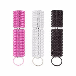 defense divas bling mace equisitive rhinestone pepper spray pink white black rhinestone pepper spray keychain color choices