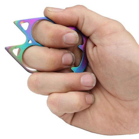 defense divas feline fusion rainbow knuckle self defense 4K3-BK-10-T impact key chain holding position