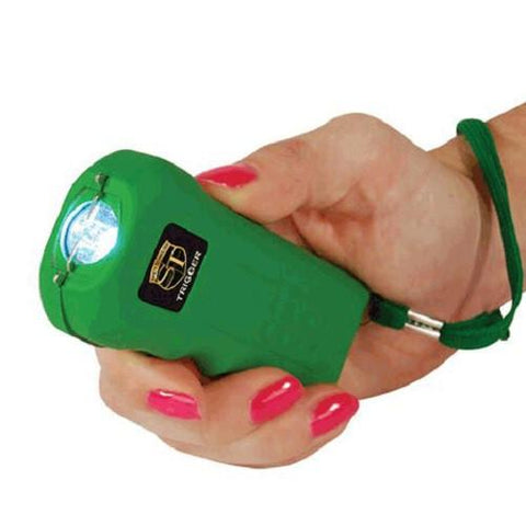defense divas green trigger stun gun flashlight self defense taser hand position
