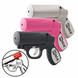 defense divas mace pepper gun silver black pink pepper spray pistol cannister loading view