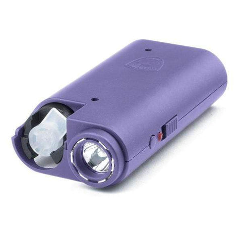 defense divas olympian 3 in 1 purple stun gun pepper spray self defense flashlight combo model taser and mace main