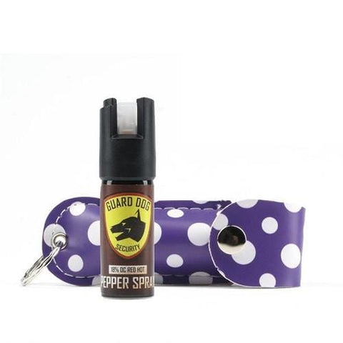 guard dog fireista collection pepper spray designer mace womens self defense products purple polka dots