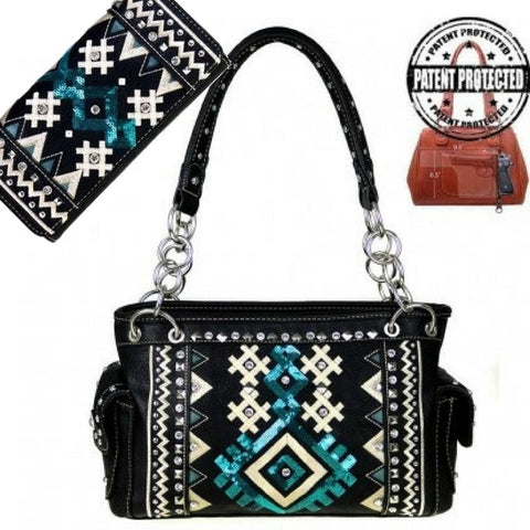 mw456g-8085 concealed carry gun purse tribal collection with matching wallet set