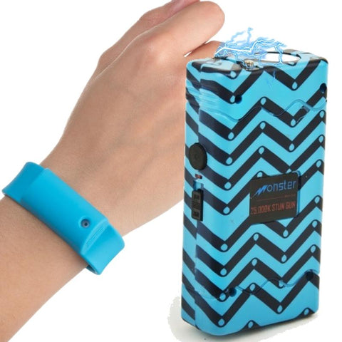 snipe her self defense kit stun gun pepper spray bracelet blue option