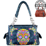 sugar skull concealed carry handgun purse navy blue MW326G-8085-1005-NY