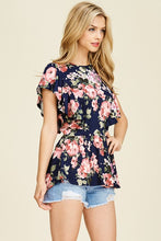 Ruffle Sleeve Navy Floral Buttery Soft Top
