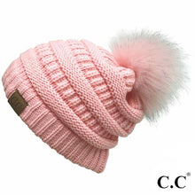 Solid C.C. Beanie With Matching Faux Fur Pom