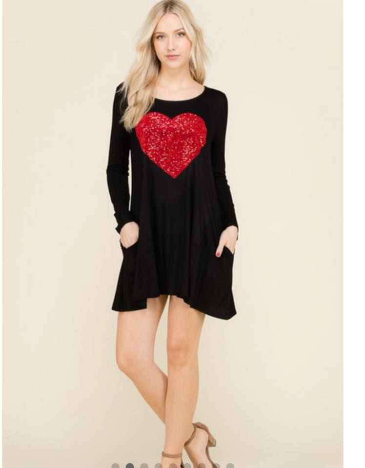 Valentines Day Dress Black Long Sleeve Swing Dress With Red Sequin Heart With Pockets