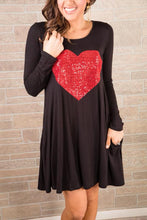 Valentines Day Dress Black Long Sleeve Swing Dress With Red Sequin Heart and pockets