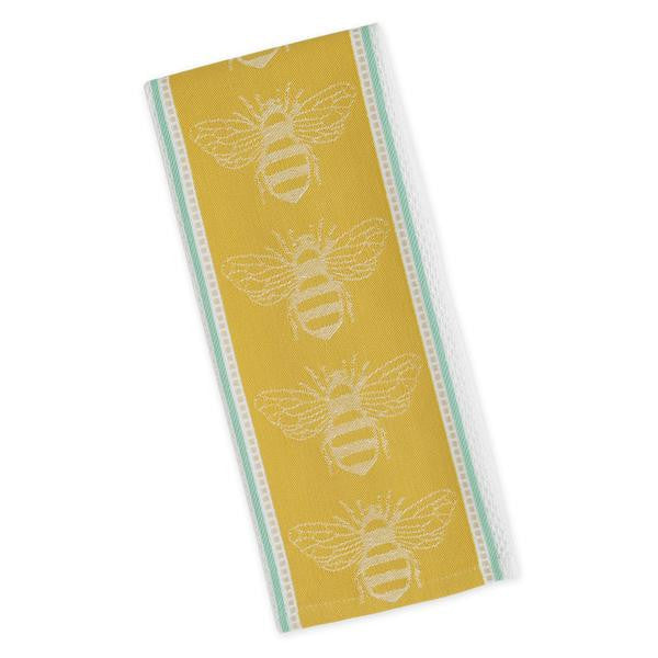yellow with blue stripe down the side of this dishtowel with white outlined bees down the center