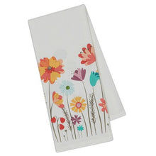 cream ivory with mutli color flowers dishtowel