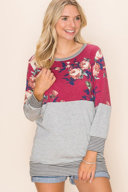 Long Sleeve Burgundy Floral & Gray, Stripe Accent Top