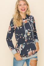 Lightweight Navy and Floral Hoodie