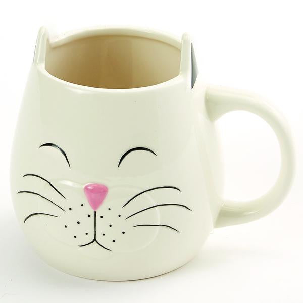 ceramic cream colored cat face mug measure 4.5