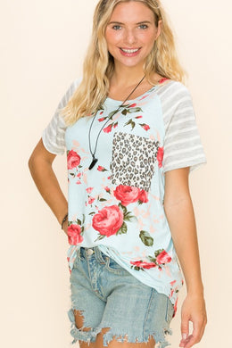 Rosy Mint Floral Contrast Stripe Sleeves & Leopard Pocket Tee