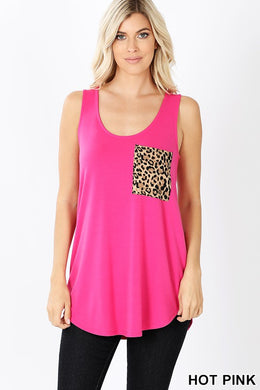 Round Neck Boyfriend Fit Tank with Leopard Pocket Reg & Plus
