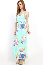 mint green and floral print pattern sleeveless long maxi. soft and flowy with cinched waist