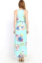 back view of mint green and floral print pattern sleeveless long maxi. soft and flowy with cinched waist