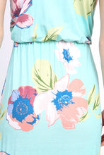zoomed in back view of mint green and floral print pattern sleeveless long maxi. soft and flowy with cinched waist