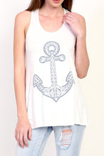 Textured embroidered feel anchor long tank top with pink or teal banded back racer back