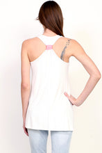 Textured embroidered feel anchor long tank top with pink or teal banded back racer back banded pink back view