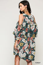 Forrest green floral with a crochet neckline. Cold shoulder with a 3/4 sleeve. Flowy and boho. coral, white and yellow floral. bohemian spring and summer dress!