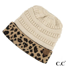 Solid Messy Bun Beanie with Leopard Cuff
