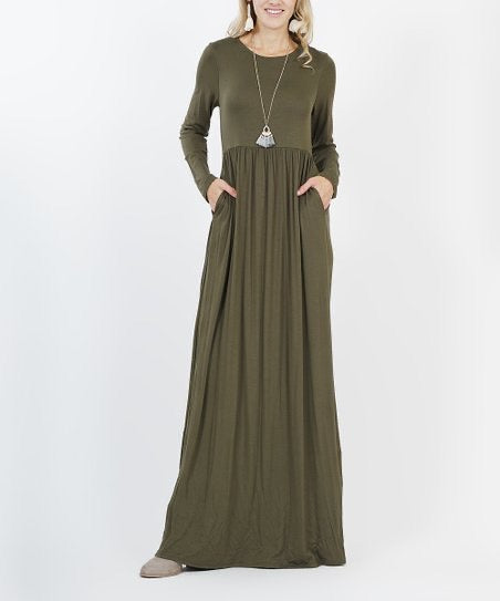 solid olive green long sleeve long maxi dress cinched at small of waist with pockets. soft, stretchy, and comfortably comfy material