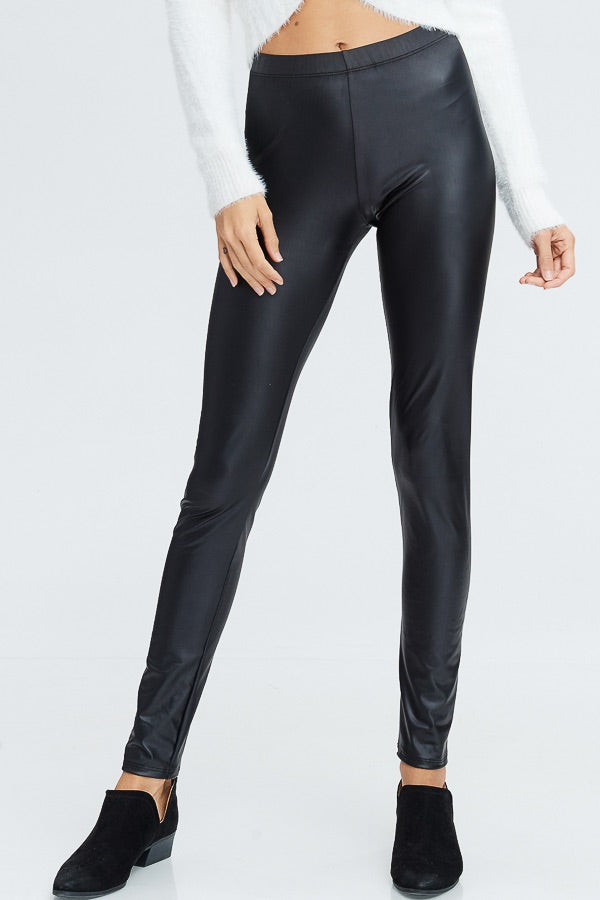 faux leather leggings with an elastic waistband. perfect for any casual outfit or dressed up for a night out on the town