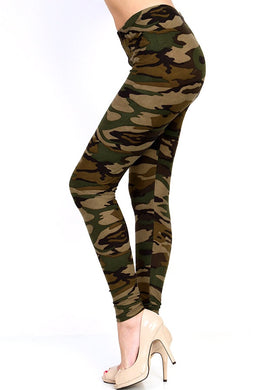 side view of full- length one size- Women's 0-14 and plus size- women's 14-20 mix print camo leggings are so soft, stretchy, lightweight, and have a 1