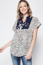 Leopard and Navy Floral Split V Blouse