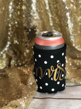 Mrs. black and white polka dotted beer sweater koozie