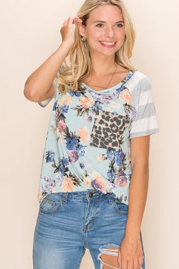 Floral Contrast Stripe Sleeves & Leopard Pocket Tee