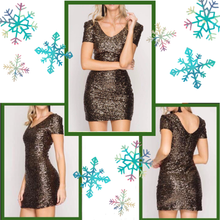 front, side, and back view of short sleeve short dress fully covered in dark gold sequins with V-neck and V-back and fully lined inside